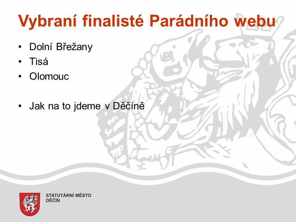 Vybraní finalisté Parádního webu Dolní Břežany Tisá Olomouc Jak na to jdeme v Děčíně