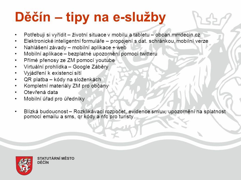 Děčín – tipy na e-služby Potřebuji si vyřídit – životní situace v mobilu a tabletu – obcan.mmdecin.cz Elektronické inteligentní formuláře – propojení s dat.