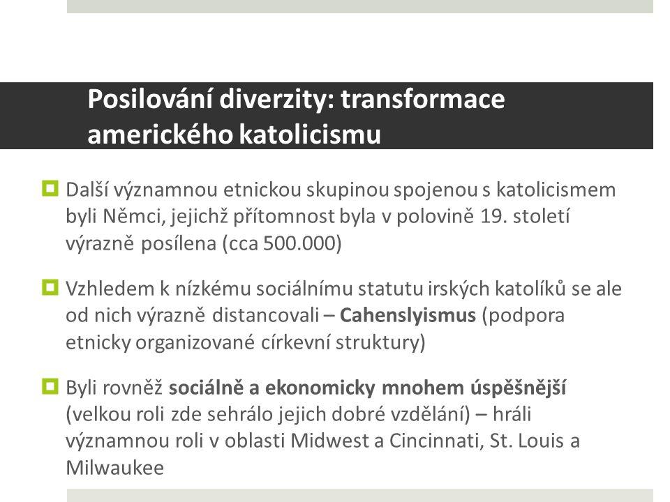 Posilování diverzity: transformace amerického katolicismu  Další významnou etnickou skupinou spojenou s katolicismem byli Němci, jejichž přítomnost byla v polovině 19.