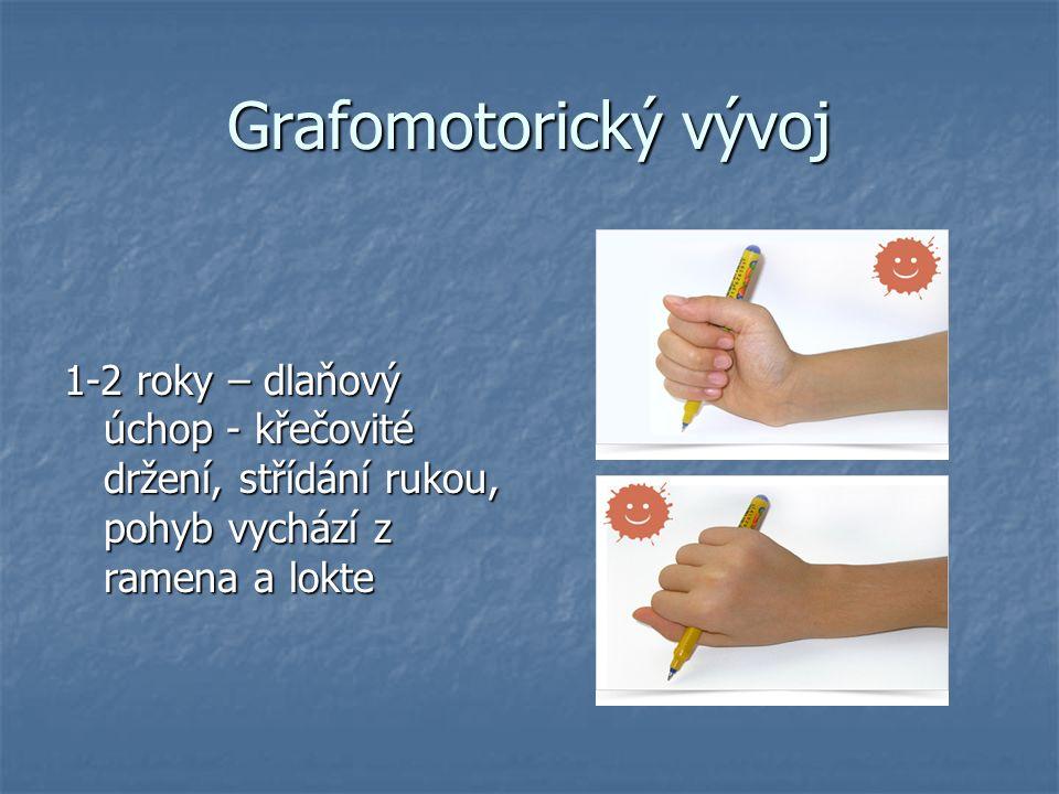 Grafomotorický vývoj 1-2 roky – dlaňový úchop - křečovité držení, střídání rukou, pohyb vychází z ramena a lokte