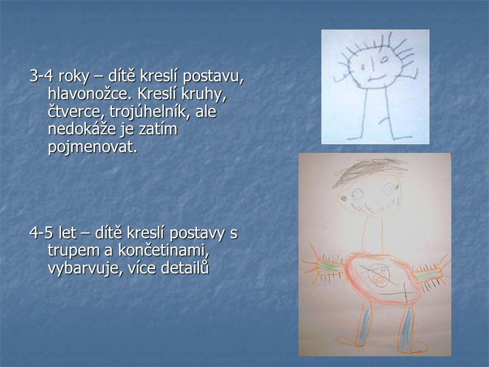 3-4 roky – dítě kreslí postavu, hlavonožce. Kreslí kruhy, čtverce, trojúhelník, ale nedokáže je zatím pojmenovat. 4-5 let – dítě kreslí postavy s trup