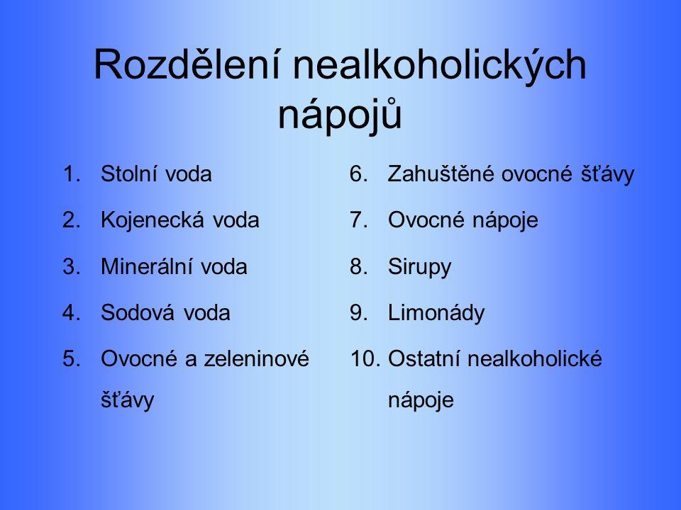 Rozdělení nealkoholických nápojů 1.Stolní voda 2.Kojenecká voda 3.Minerální voda 4.Sodová voda 5.Ovocné a zeleninové šťávy 6.Zahuštěné ovocné šťávy 7.Ovocné nápoje 8.Sirupy 9.Limonády 10.Ostatní nealkoholické nápoje