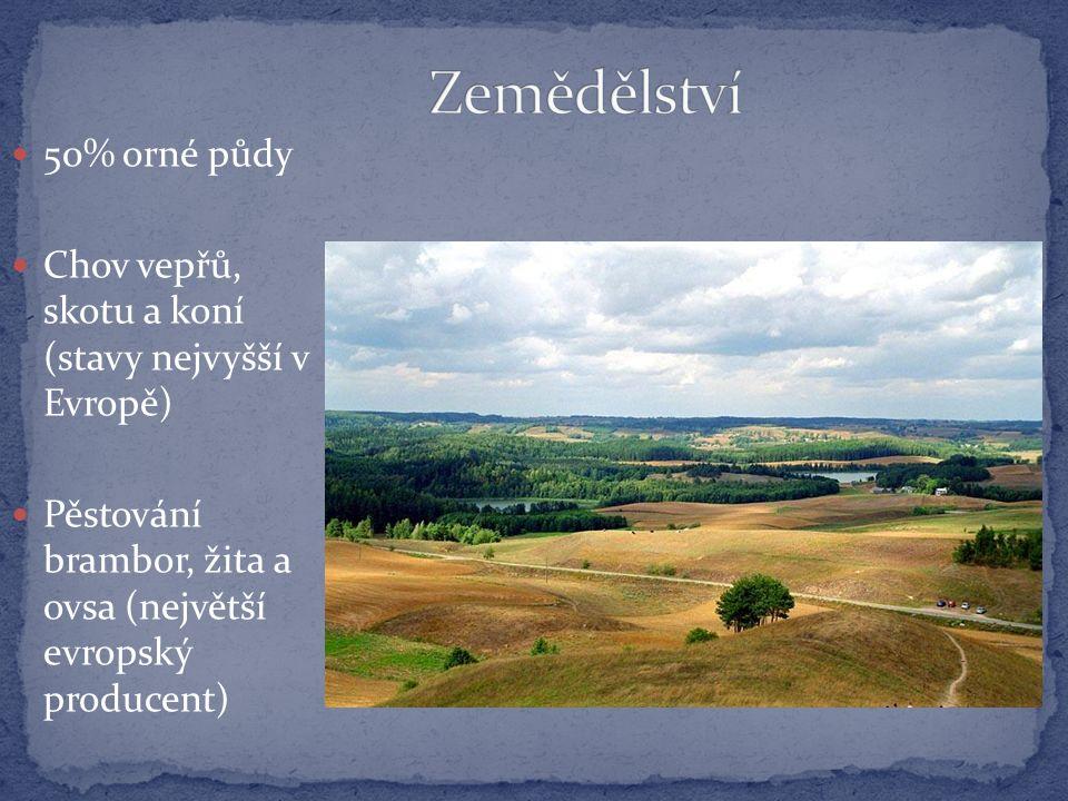 50% orné půdy Chov vepřů, skotu a koní (stavy nejvyšší v Evropě) Pěstování brambor, žita a ovsa (největší evropský producent)