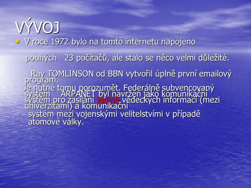 VÝVOJ V roce 1972 bylo na tomto internetu napojeno V roce 1972 bylo na tomto internetu napojeno pouhých 23 počítačů, ale stalo se něco velmi důležité.