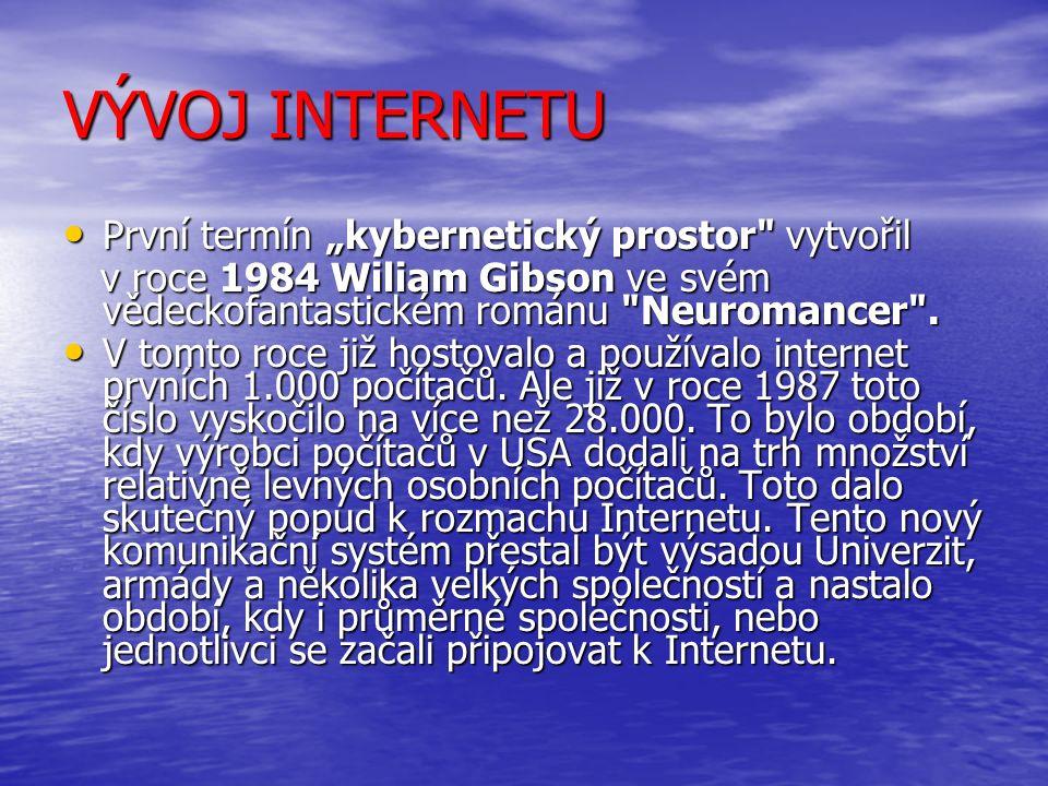 """VÝVOJ INTERNETU První termín """"kybernetický prostor vytvořil První termín """"kybernetický prostor vytvořil v roce 1984 Wiliam Gibson ve svém vědeckofantastickém románu Neuromancer ."""