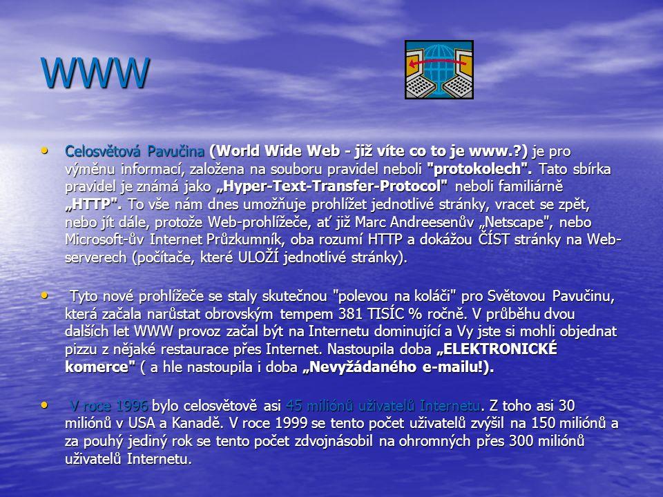 WWW Celosvětová Pavučina (World Wide Web - již víte co to je www. ) je pro výměnu informací, založena na souboru pravidel neboli protokolech .