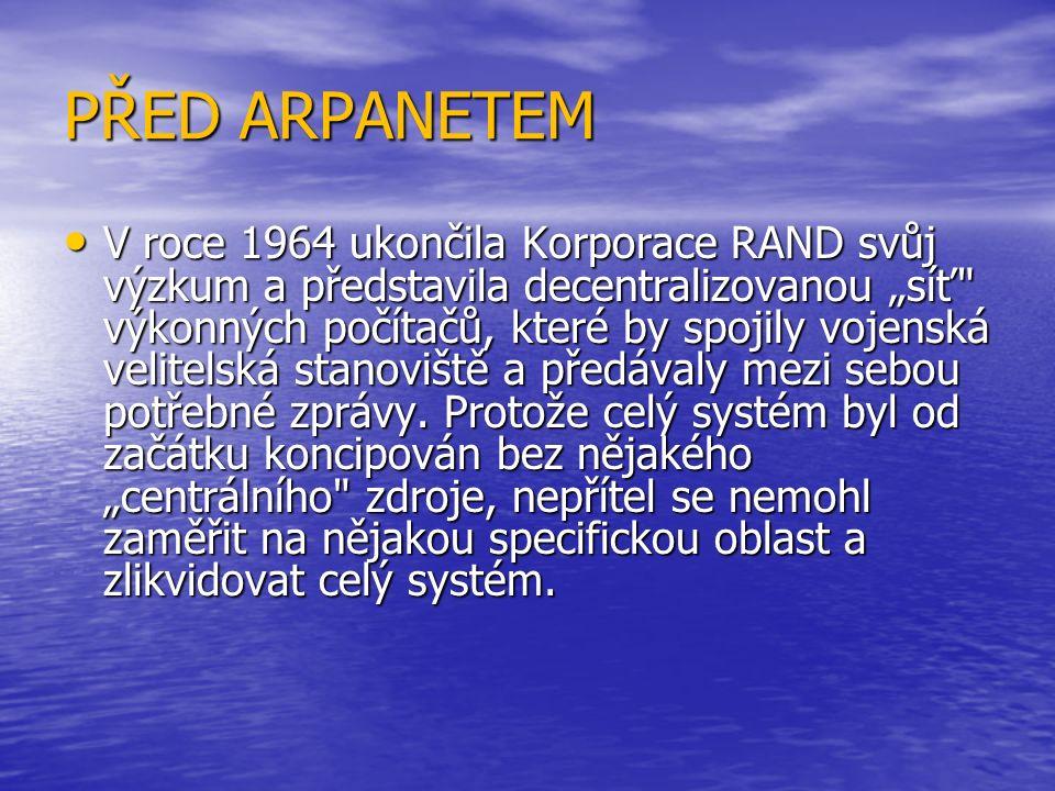 """ARPANET První """"uzlový počítač schopný přenášet informace byl připraven v záři 1969 na Kalifornské Univerzitě v Los Angeles (UCLA) a v prosinci téhož roku byly vybudovány další tři """"uzly a to u SRI, dále na Univerzitě v Santa Barbaře (Kalifornie) a na Univerzitě v Utahu."""