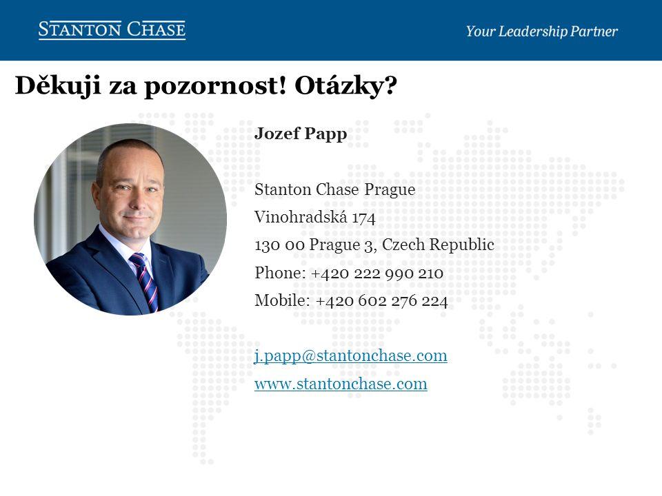 Jozef Papp Stanton Chase Prague Vinohradská 174 130 00 Prague 3, Czech Republic Phone: +420 222 990 210 Mobile: +420 602 276 224 j.papp@stantonchase.com www.stantonchase.com Děkuji za pozornost.