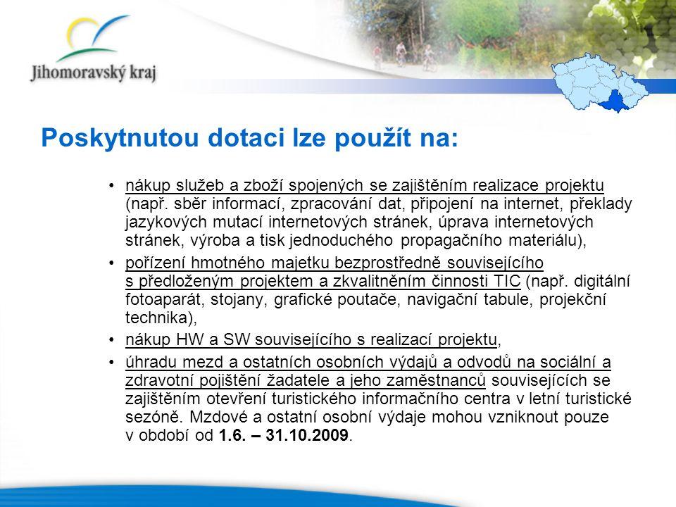 Poskytnutou dotaci lze použít na: nákup služeb a zboží spojených se zajištěním realizace projektu (např.
