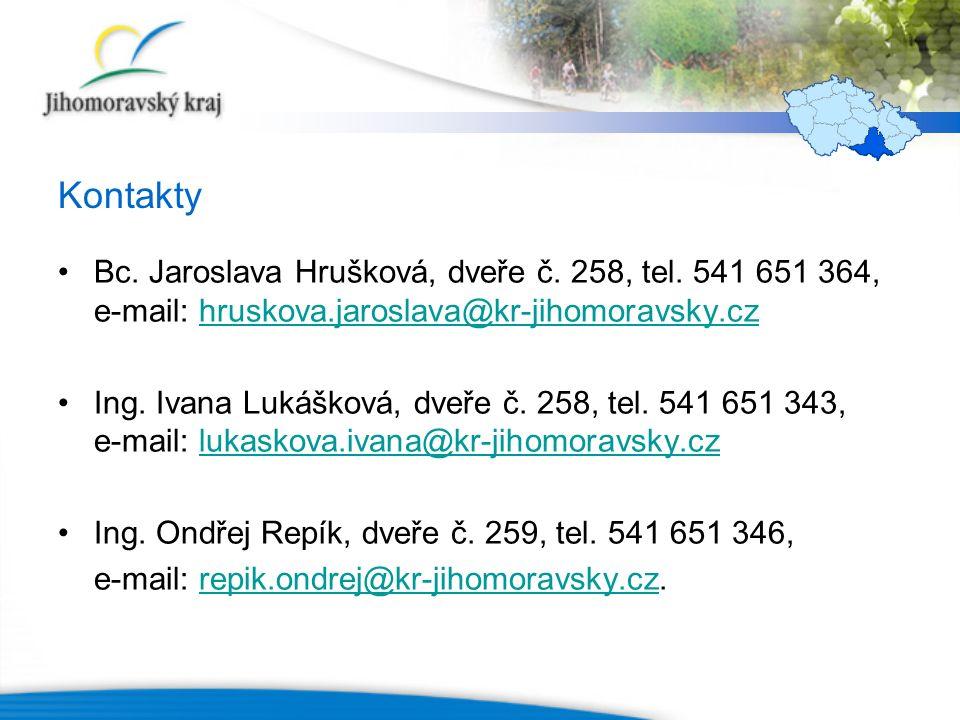 Kontakty Bc. Jaroslava Hrušková, dveře č. 258, tel. 541 651 364, e-mail: hruskova.jaroslava@kr-jihomoravsky.czhruskova.jaroslava@kr-jihomoravsky.cz In