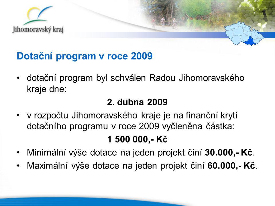 Dotační program v roce 2009 dotační program byl schválen Radou Jihomoravského kraje dne: 2. dubna 2009 v rozpočtu Jihomoravského kraje je na finanční