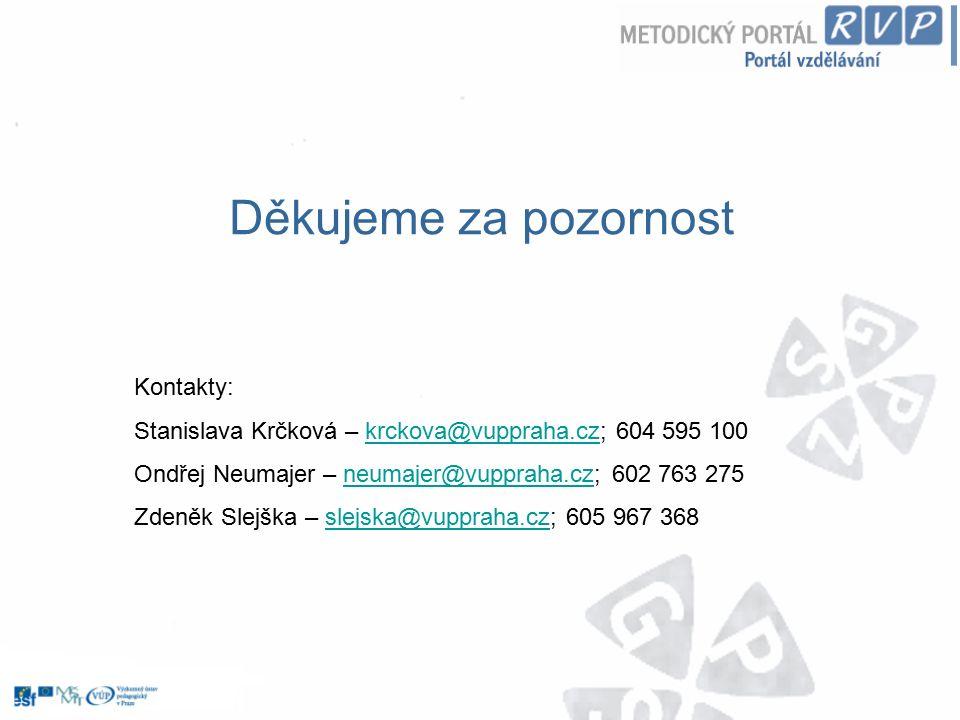 Děkujeme za pozornost Kontakty: Stanislava Krčková – krckova@vuppraha.cz; 604 595 100krckova@vuppraha.cz Ondřej Neumajer – neumajer@vuppraha.cz; 602 7