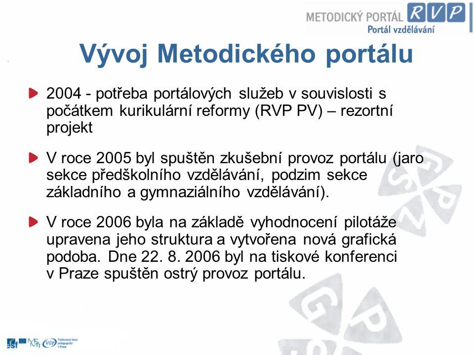 Vývoj Metodického portálu 2004 - potřeba portálových služeb v souvislosti s počátkem kurikulární reformy (RVP PV) – rezortní projekt V roce 2005 byl s