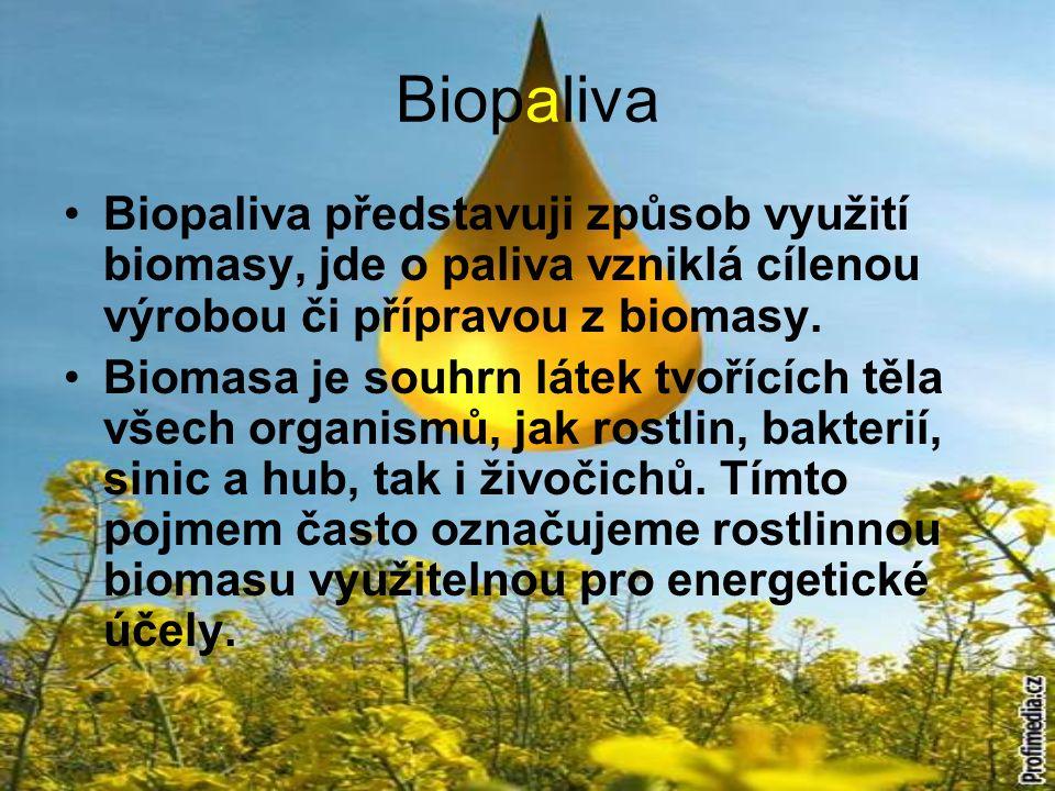 Biopaliva Biopaliva představuji způsob využití biomasy, jde o paliva vzniklá cílenou výrobou či přípravou z biomasy. Biomasa je souhrn látek tvořících