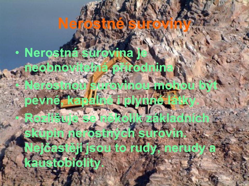 Nerostné suroviny Nerostná surovina je neobnovitelná přírodnina Nerostnou surovinou mohou být pevné, kapalné i plynné látky. Rozlišuje se několik zákl