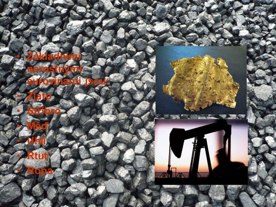 Základními nerostnými surovinami jsou: Zlato Stříbro Měď Uhlí Rtuť Ropa