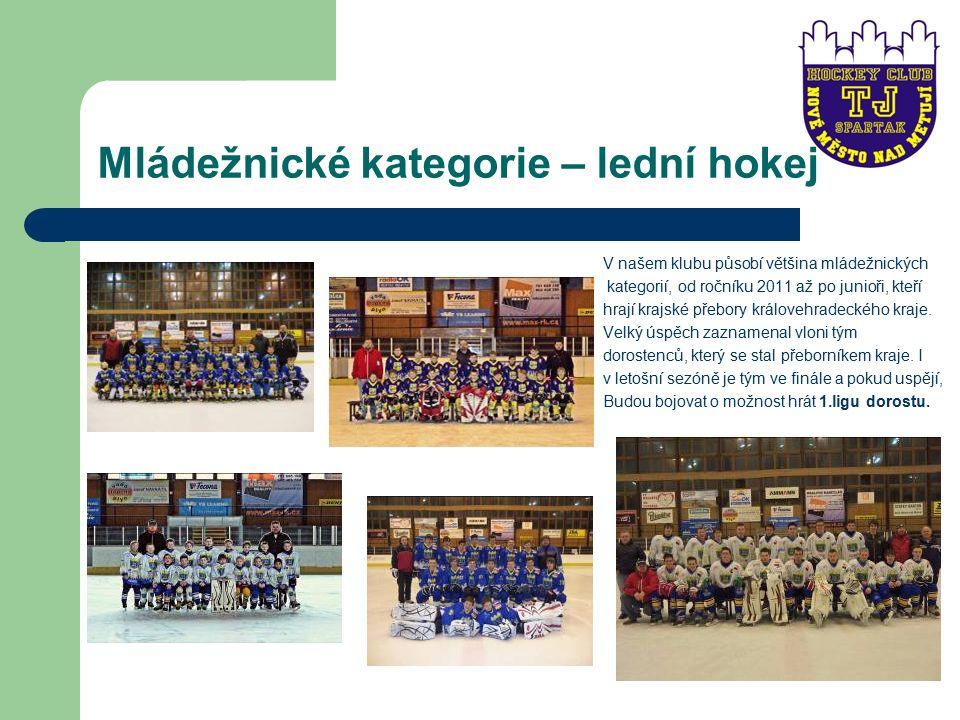 Mládežnické kategorie – lední hokej V našem klubu působí většina mládežnických kategorií, od ročníku 2011 až po junioři, kteří hrají krajské přebory královehradeckého kraje.