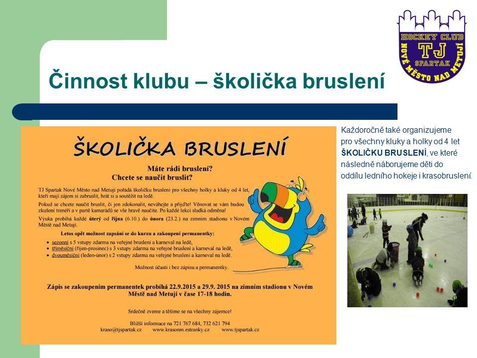 Činnost klubu – školička bruslení Každoročně také organizujeme pro všechny kluky a holky od 4 let ŠKOLIČKU BRUSLENÍ, ve které následně náborujeme děti do oddílu ledního hokeje i krasobruslení.