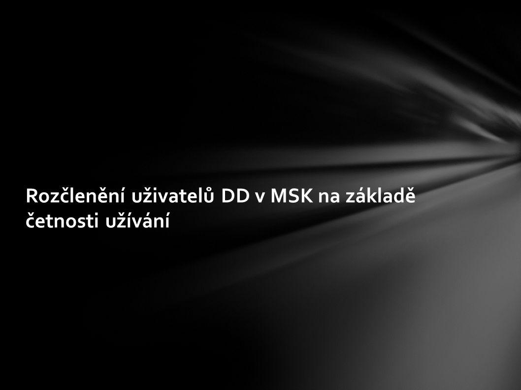 Rozčlenění uživatelů DD v MSK na základě četnosti užívání