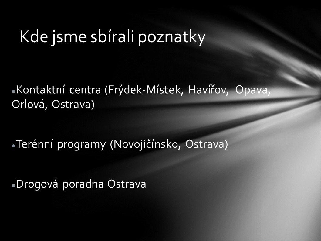Kde jsme sbírali poznatky Kontaktní centra (Frýdek-Místek, Havířov, Opava, Orlová, Ostrava) Terénní programy (Novojičínsko, Ostrava) Drogová poradna O