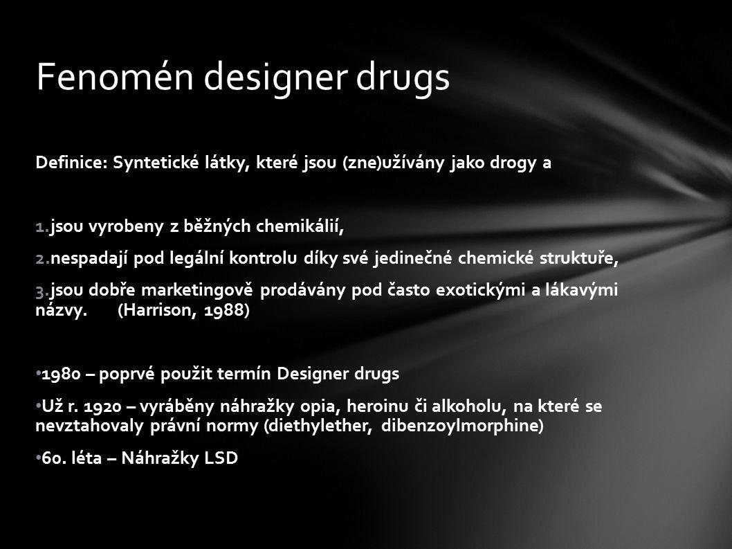Definice: Syntetické látky, které jsou (zne)užívány jako drogy a 1.jsou vyrobeny z běžných chemikálií, 2.nespadají pod legální kontrolu díky své jedin