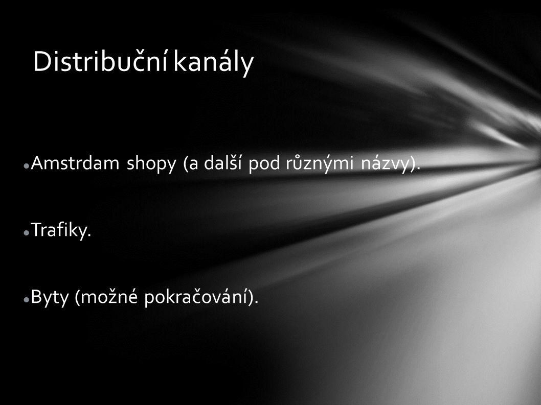 Distribuční kanály Amstrdam shopy (a další pod různými názvy). Trafiky. Byty (možné pokračování).
