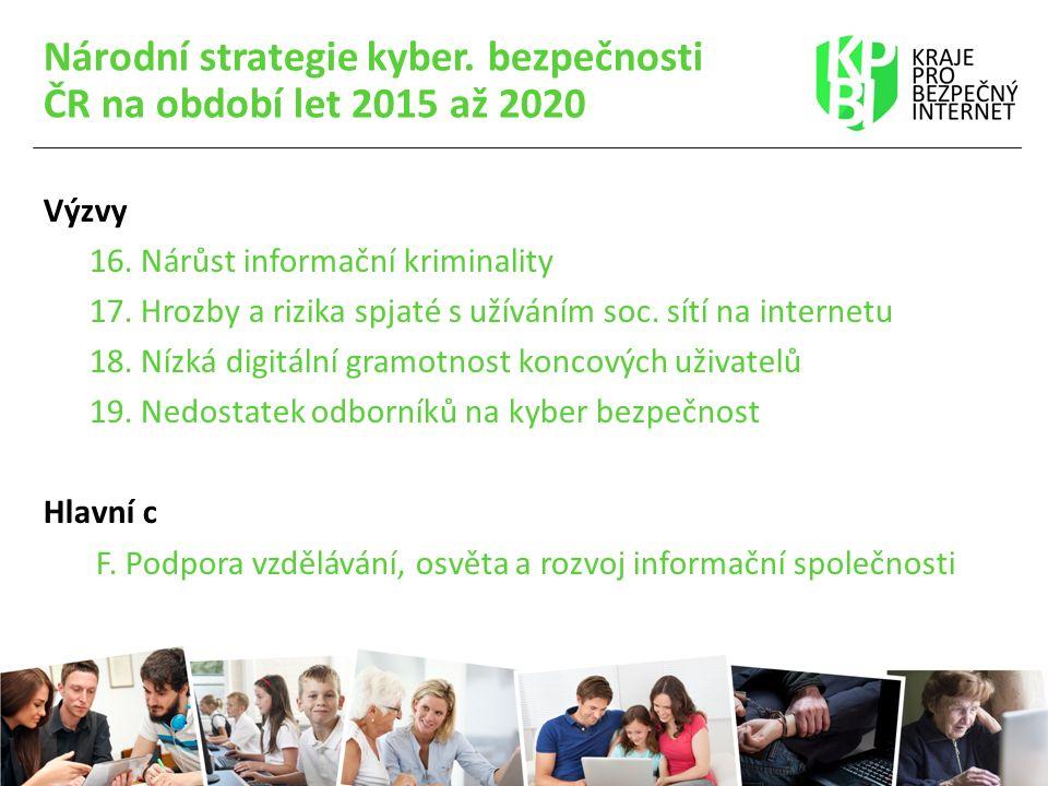 Národní strategie kyber. bezpečnosti ČR na období let 2015 až 2020 Výzvy 16. Nárůst informační kriminality 17. Hrozby a rizika spjaté s užíváním soc.