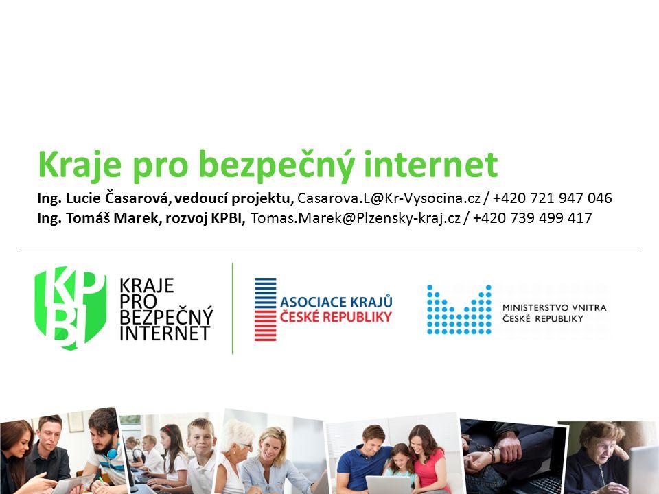 Kraje pro bezpečný internet Ing. Lucie Časarová, vedoucí projektu, Casarova.L@Kr-Vysocina.cz / +420 721 947 046 Ing. Tomáš Marek, rozvoj KPBI, Tomas.M