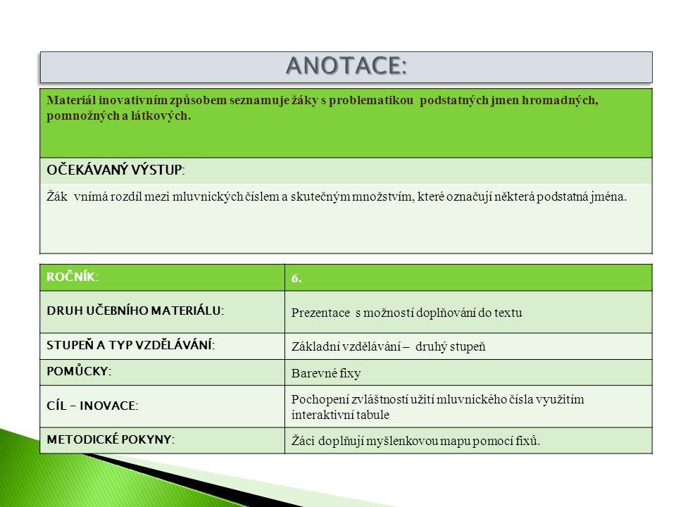ROČNÍK: 6. DRUH UČEBNÍHO MATERIÁLU: Prezentace s možností doplňování do textu STUPEŇ A TYP VZDĚLÁVÁNÍ: Základní vzdělávání – druhý stupeň POMŮCKY: Bar