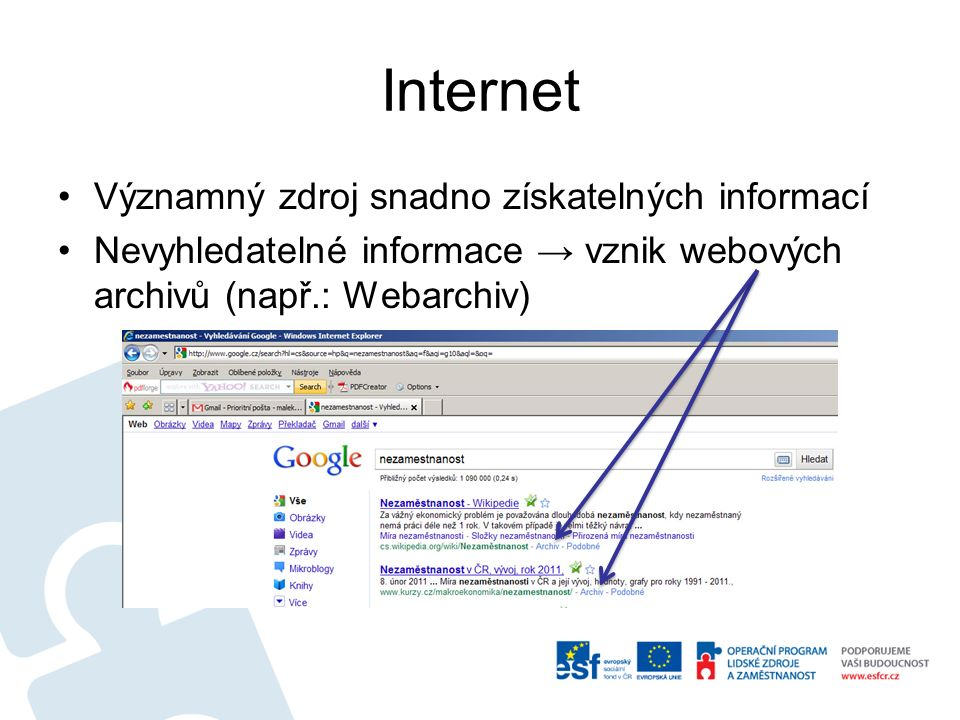 Internet Významný zdroj snadno získatelných informací Nevyhledatelné informace → vznik webových archivů (např.: Webarchiv)