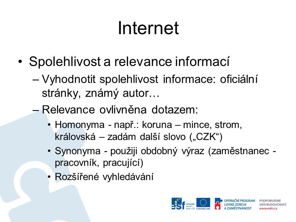 Internet Spolehlivost a relevance informací –Vyhodnotit spolehlivost informace: oficiální stránky, známý autor… –Relevance ovlivněna dotazem: Homonyma