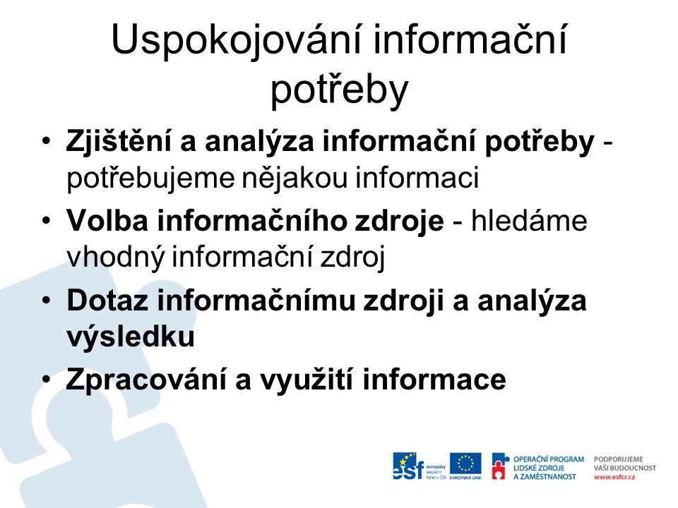 Uspokojování informační potřeby Zjištění a analýza informační potřeby - potřebujeme nějakou informaci Volba informačního zdroje - hledáme vhodný infor