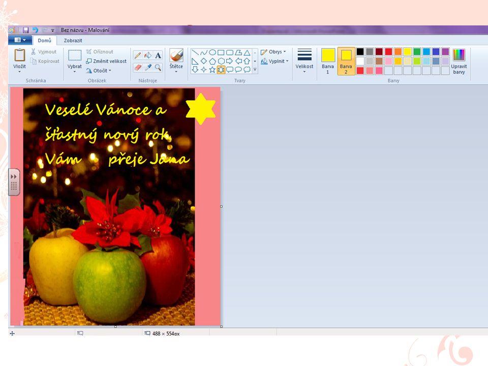 """Po úpravách doplňte text """"Veselé Vánoce a šťastný nový rok Vám přeje…"""" (text si můžete upravit podle sebe). Po úpravách doplňte text """"Veselé Vánoce a"""