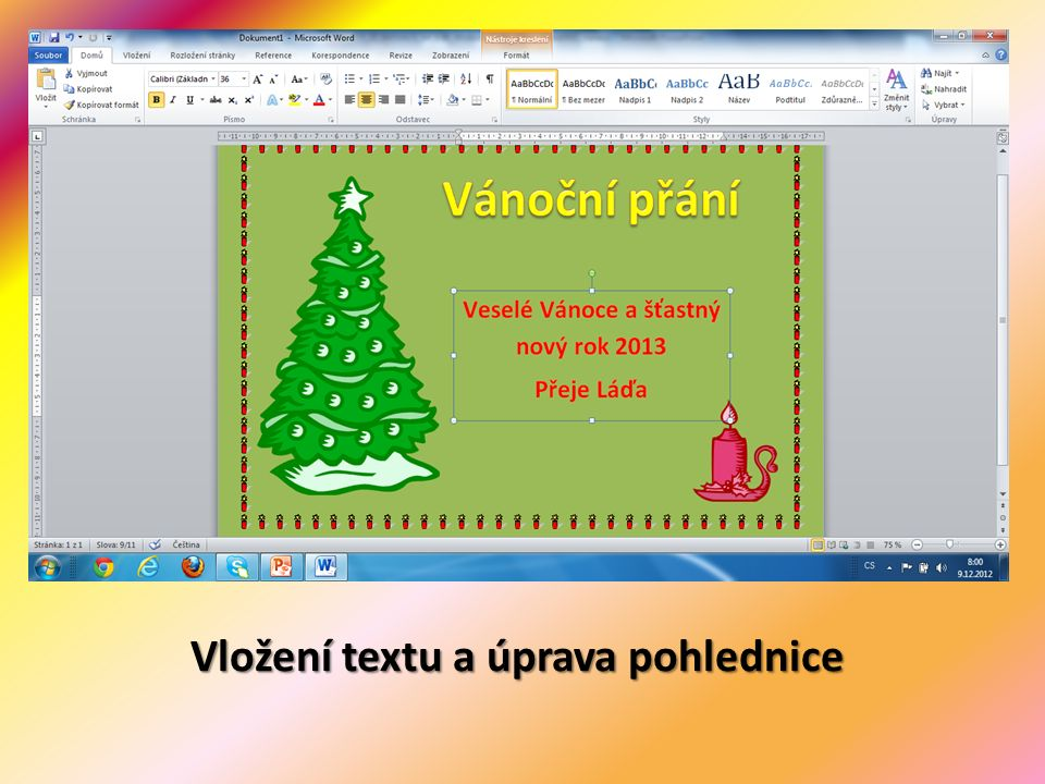 Vložení textu a úprava pohlednice
