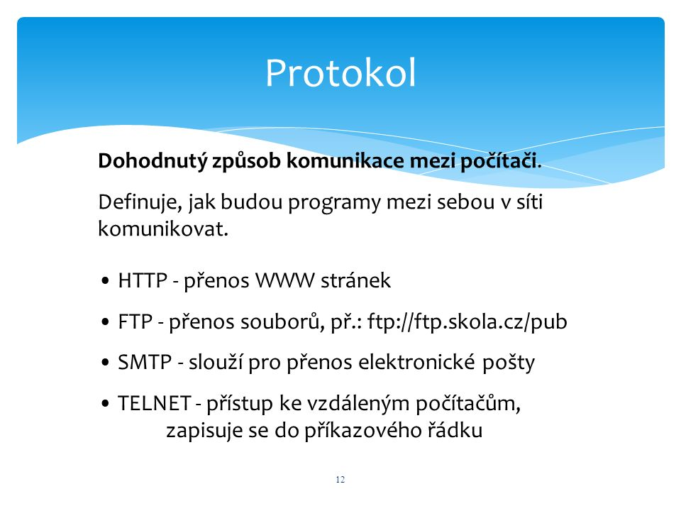 Protokol 12 Dohodnutý způsob komunikace mezi počítači. Definuje, jak budou programy mezi sebou v síti komunikovat. HTTP - přenos WWW stránek FTP - pře