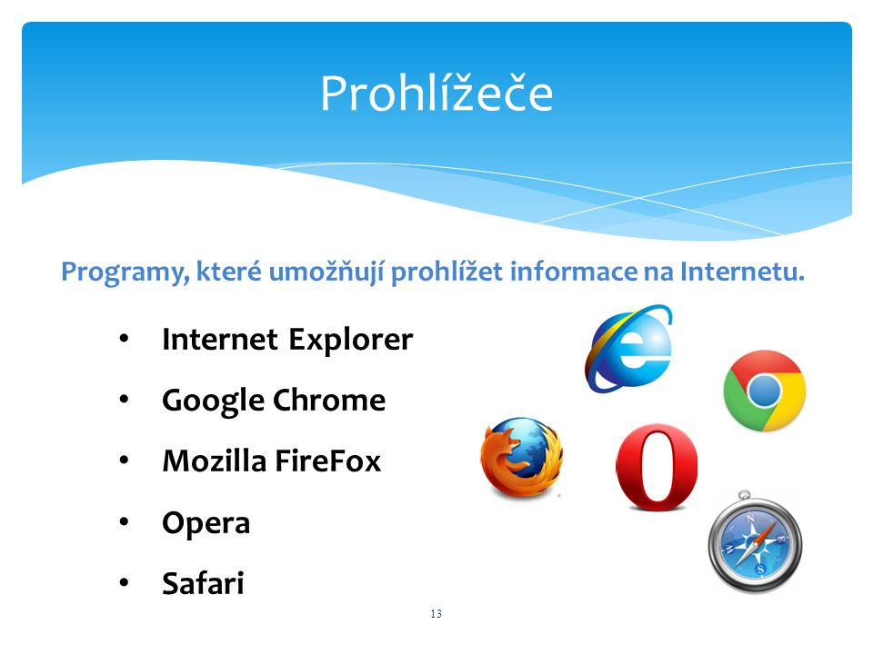 Prohlížeče 13 Programy, které umožňují prohlížet informace na Internetu. Internet Explorer Google Chrome Mozilla FireFox Opera Safari