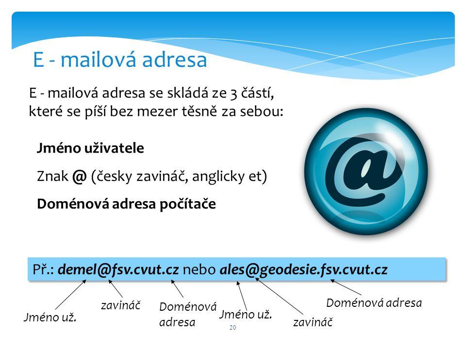 20 E - mailová adresa E - mailová adresa se skládá ze 3 částí, které se píší bez mezer těsně za sebou: Jméno uživatele Znak @ (česky zavináč, anglicky et) Doménová adresa počítače Př.: demel@fsv.cvut.cz nebo ales@geodesie.fsv.cvut.cz Jméno už.