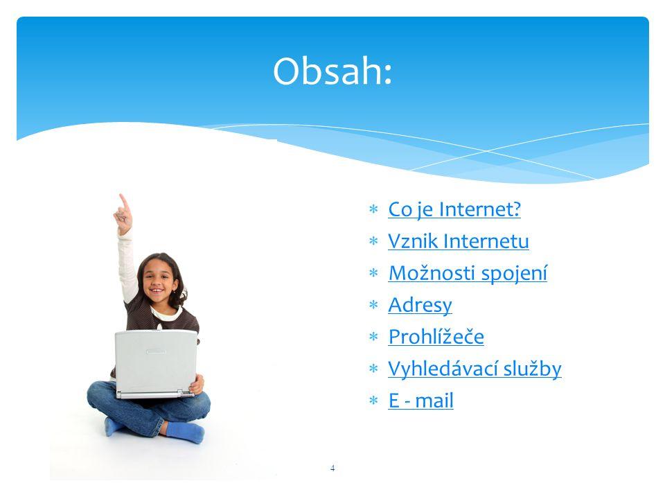  Co je Internet? Co je Internet?  Vznik Internetu Vznik Internetu  Možnosti spojení Možnosti spojení  Adresy Adresy  Prohlížeče Prohlížeče  Vyhl