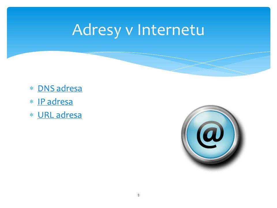  DNS adresa DNS adresa  IP adresa IP adresa  URL adresa URL adresa 8 Adresy v Internetu