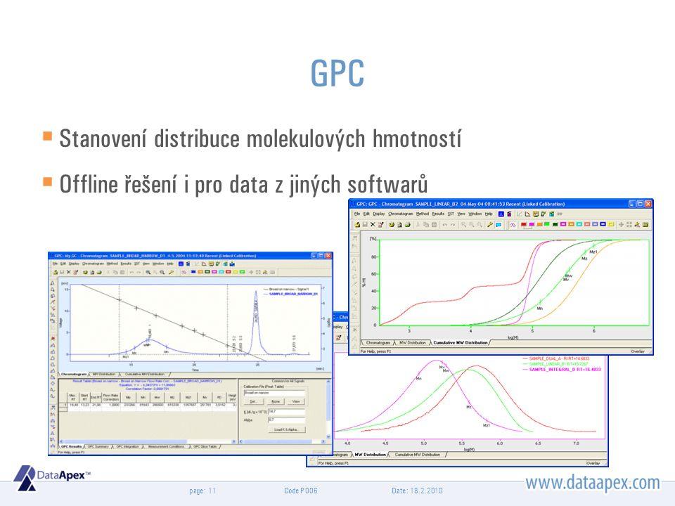 page: GPC  Stanovení distribuce molekulových hmotností  Offline řešení i pro data z jiných softwarů Date: 18.2.201011Code P006