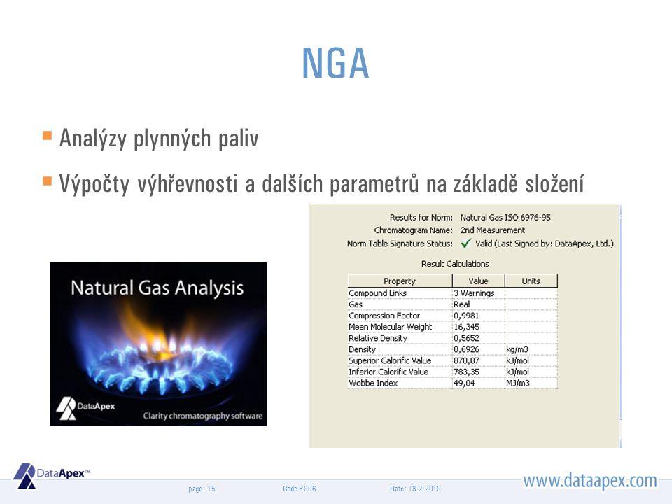 page: NGA  Analýzy plynných paliv  Výpočty výhřevnosti a dalších parametrů na základě složení Date: 18.2.201015Code P006