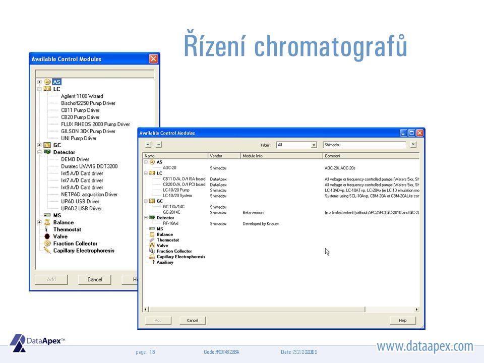 page: Řízení chromatografů Date 7.2.200818Code P014/26A Date: 3.11.200918Code: P016/28A