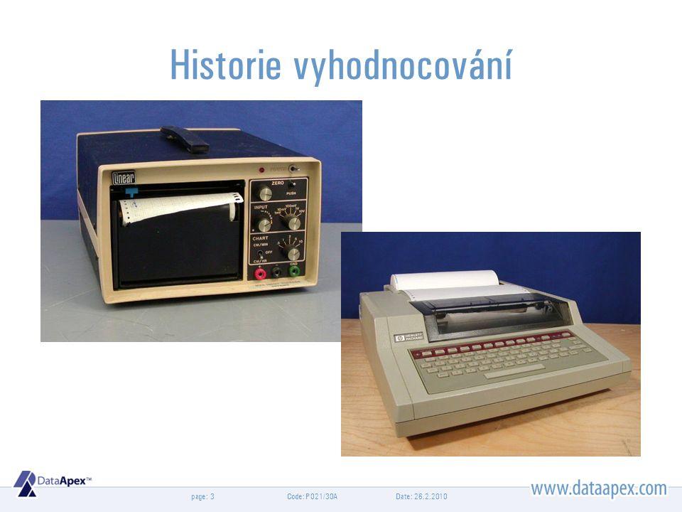 page: Date: 26.2.2010Code: P021/30A3 Historie vyhodnocování