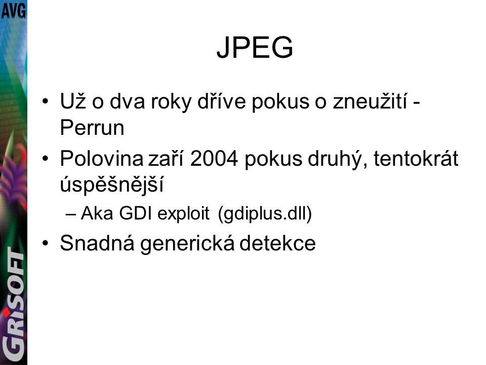 JPEG Už o dva roky dříve pokus o zneužití - Perrun Polovina zaří 2004 pokus druhý, tentokrát úspěšnější –Aka GDI exploit (gdiplus.dll) Snadná generická detekce