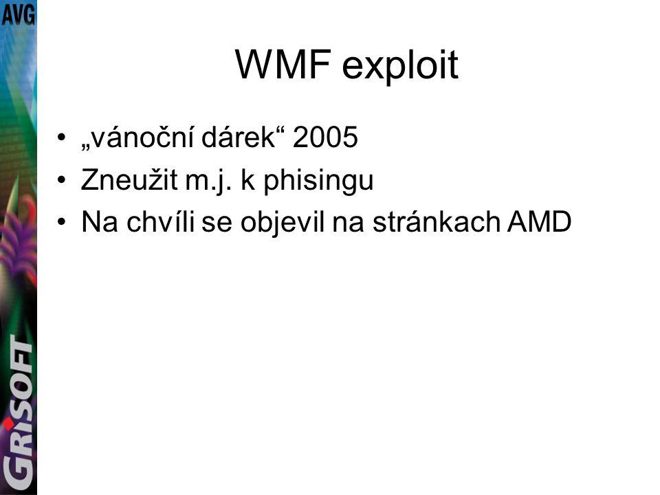 """WMF exploit """"vánoční dárek 2005 Zneužit m.j. k phisingu Na chvíli se objevil na stránkach AMD"""