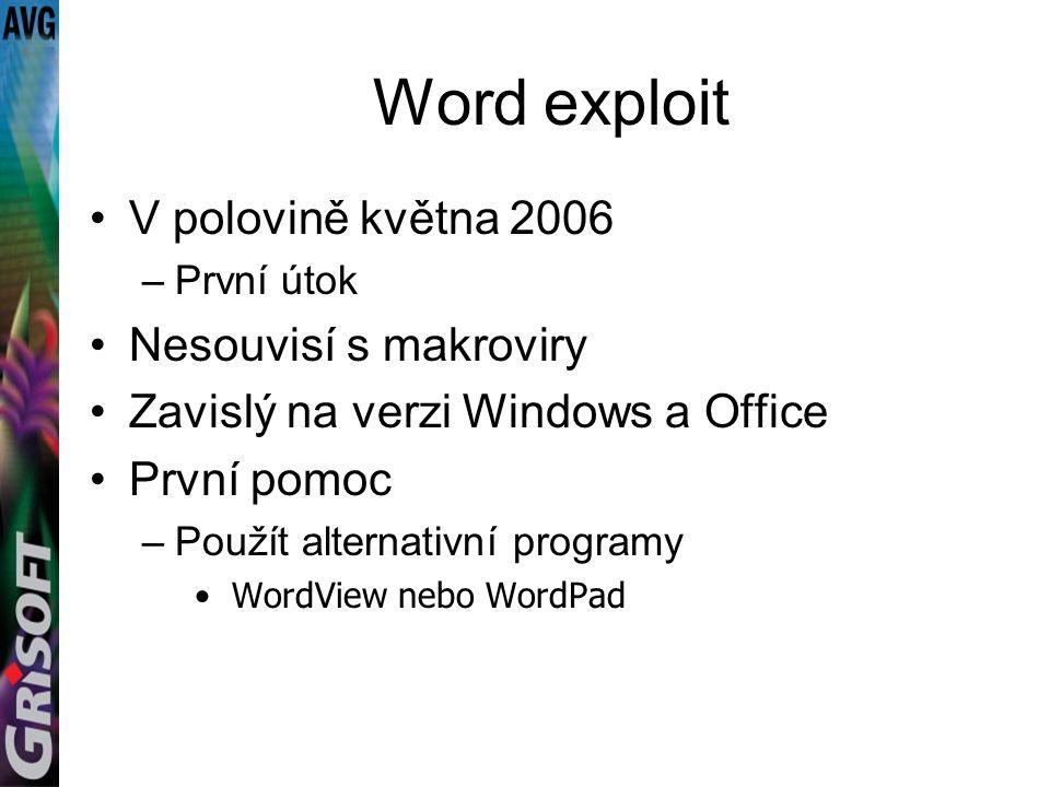 Word exploit V polovině května 2006 –První útok Nesouvisí s makroviry Zavislý na verzi Windows a Office První pomoc –Použít alternativní programy WordView nebo WordPad