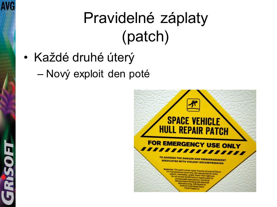 Pravidelné záplaty (patch) Každé druhé úterý –Nový exploit den poté