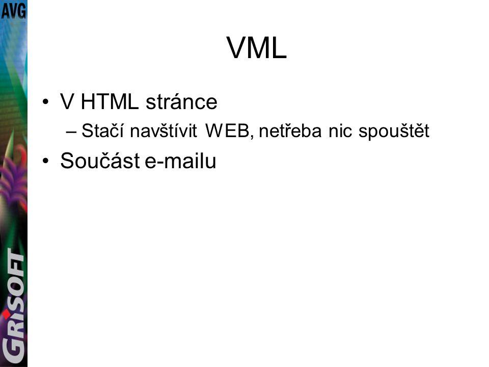VML V HTML stránce –Stačí navštívit WEB, netřeba nic spouštět Součást e-mailu