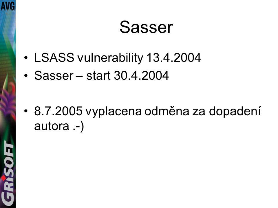 Sasser LSASS vulnerability 13.4.2004 Sasser – start 30.4.2004 8.7.2005 vyplacena odměna za dopadení autora.-)