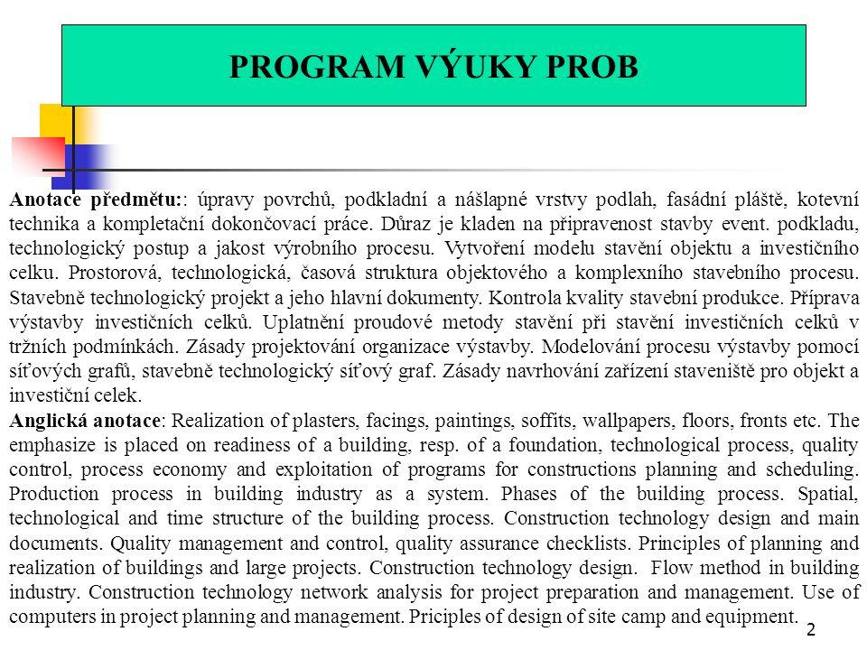 Technologie staveb procesy vnitřní a dokončovací Ing.